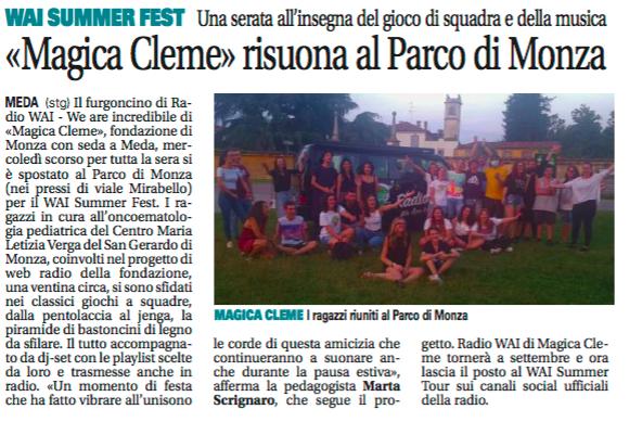 Radio WAI al parco di Monza - Giornale di Seregno